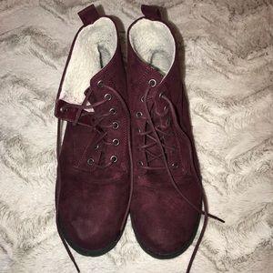 Maroon Suede Winter Boots